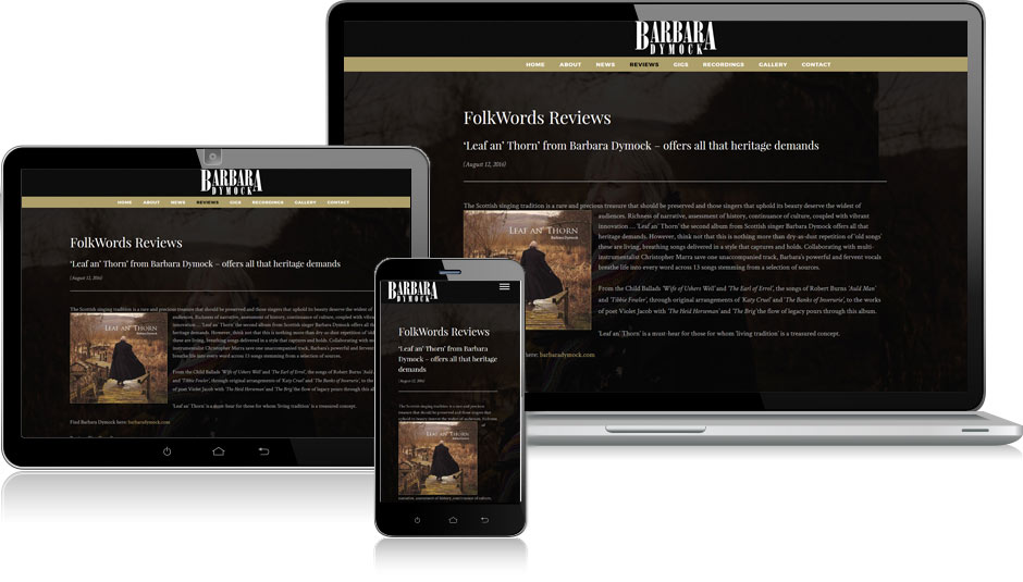 Barbara Dymock website design Edinburgh